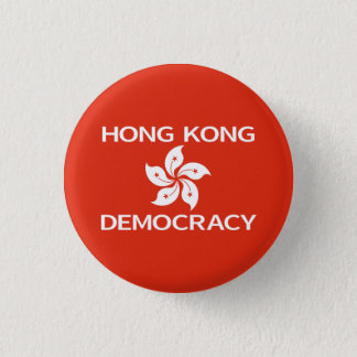 Democracy Hong Kong Orchid Flag 1 Inch Round Button
