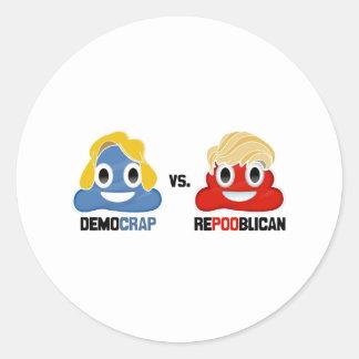 Democrap versus Repooblican - Round Sticker