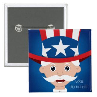 Democrat 2 Inch Square Button