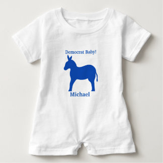 Democrat Baby Blue Donkey Name Personalized Baby Romper