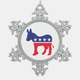 Democrat Donkey 2016 Snowflake Pewter Christmas Ornament