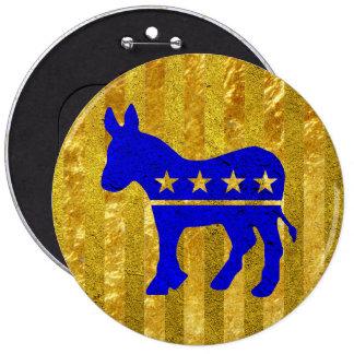 Democrat Donkey Blue Gold 6 Inch Round Button
