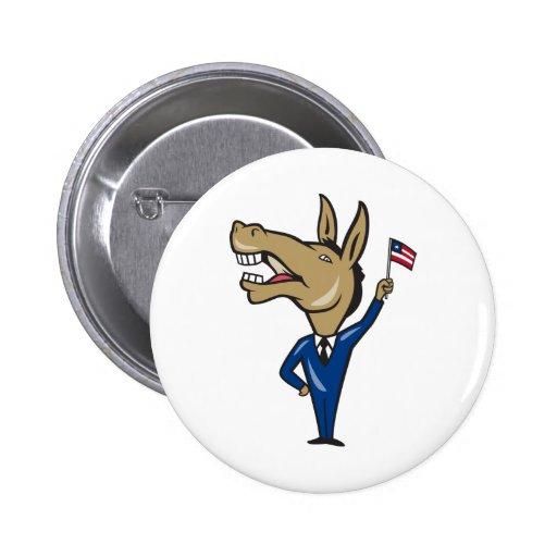 Democrat Donkey Mascot American Flag Pinback Button