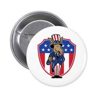 Democrat Donkey Mascot Thumbs Up Flag Pinback Button