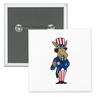 Democrat Donkey Mascot Thumbs Up Flag Buttons