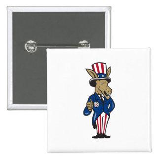 Democrat Donkey Mascot Thumbs Up Flag Buttons