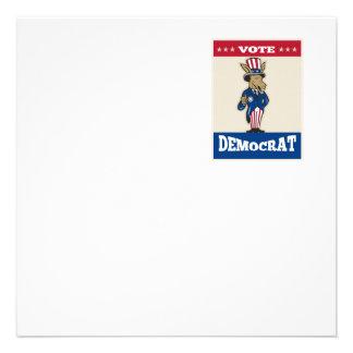 Democrat Donkey Mascot Thumbs Up Flag Personalized Invitations