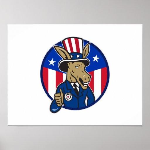 Democrat Donkey Mascot Thumbs Up Flag Posters