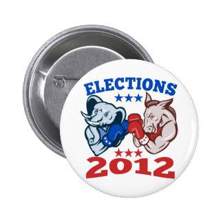 Democrat Donkey Republican Elephant Mascot 2012 Pin
