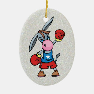 democratic donkey boxing ceramic ornament