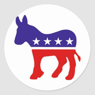 Democratic Party Donkey Round Stickers