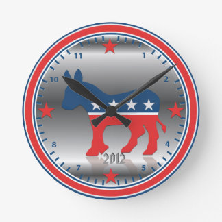 Democratic Party Election Donkey Silver Wall Clock