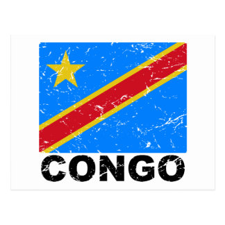 Democratic Republic of Congo Vintage Flag Postcard