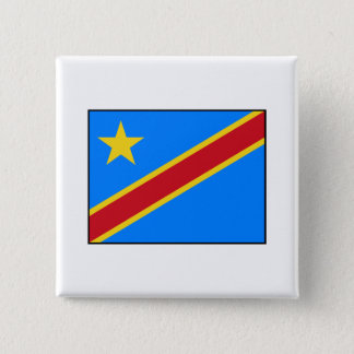 Democratic Republic of the Congo Flag 2 Inch Square Button