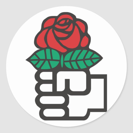 Democratic Socialism (the fist and rose symbol) Round Sticker