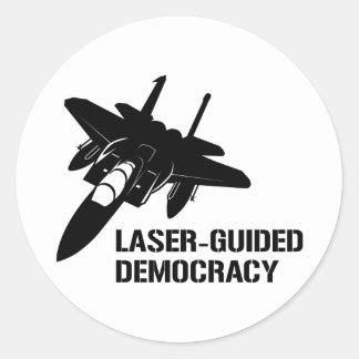 Démocratie/paix à guidage laser par la puissance adhésifs ronds