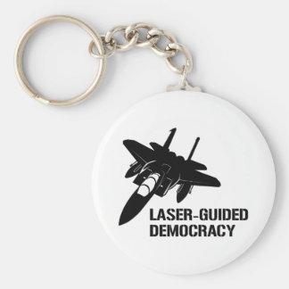Démocratie/paix à guidage laser par la puissance d porte-clé rond