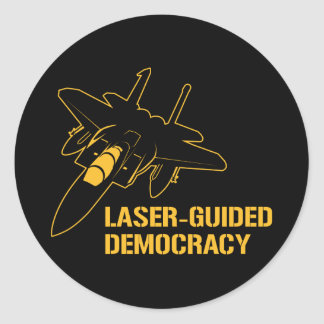 Démocratie/paix à guidage laser par la puissance sticker rond