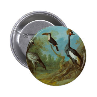 Demoiselle Crane, Toucan, and Tufted Crane 2 Inch Round Button