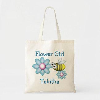 Demoiselle de honneur de fleur et d'abeille sac en toile budget