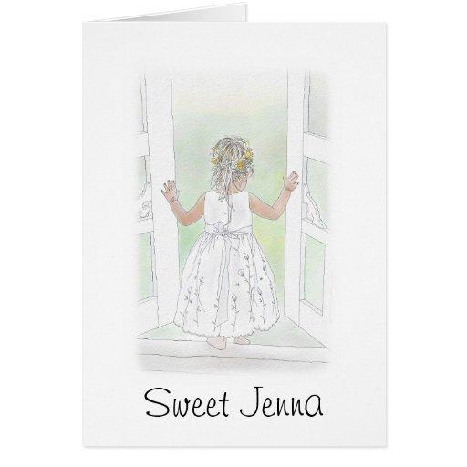 Demoiselle de honneur douce carte de vœux