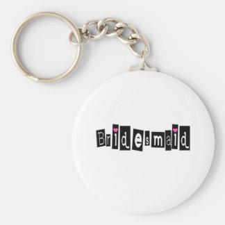 Demoiselle d'honneur (noir carré) porte-clef