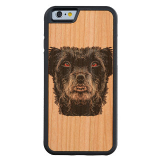 Demon Black Dog Head Carved Cherry iPhone 6 Bumper Case