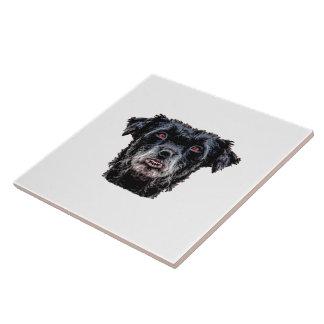 Demon Black Dog Head Tile