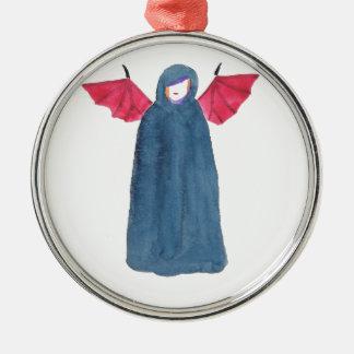 Demon Girl Silver-Colored Round Ornament