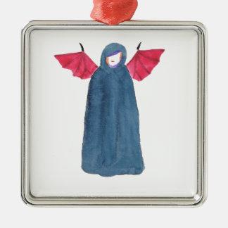 Demon Girl Silver-Colored Square Ornament
