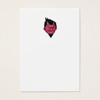 Demon Horns Goatee Head Drawing Business Card