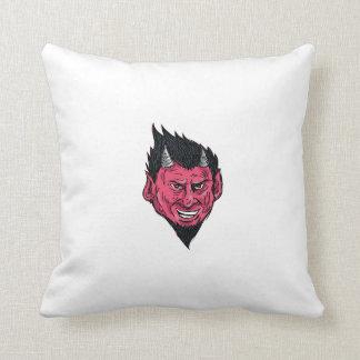 Demon Horns Goatee Head Drawing Throw Pillow