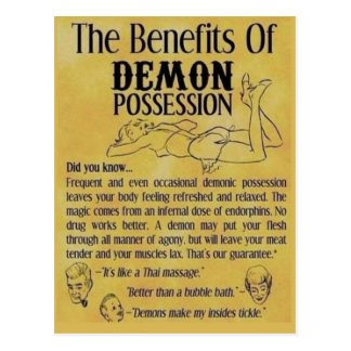 demon possession postcard