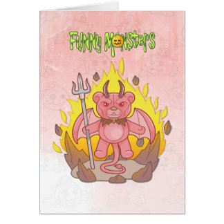 demon teddy bear card
