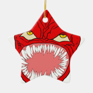 Demon Tooth Face Art Ceramic Star Ornament
