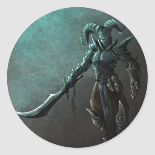 Demon Warrior Round Sticker