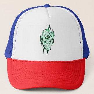 Demonic skull cap spooky skeleton ghost face green