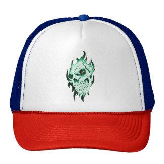 Demonic skull cap spooky skeleton ghost face green trucker hat