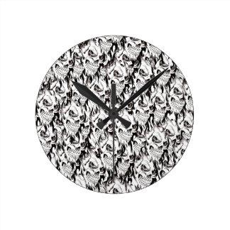 Demonic skulls pattern spooky skeleton face black round clock
