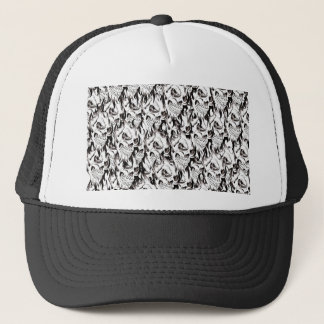 Demonic skulls pattern spooky skeleton face black trucker hat