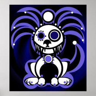 Demonimals purple puppy design poster