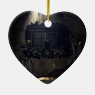 Demons eats out to play ceramic heart ornament