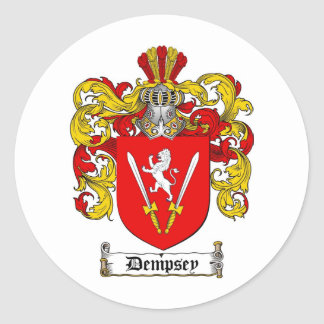 DEMPSEY FAMILY CREST -  DEMPSEY COAT OF ARMS ROUND STICKER