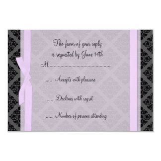 "Demure Pink and Black Damask RSVP Card 3.5"" X 5"" Invitation Card"