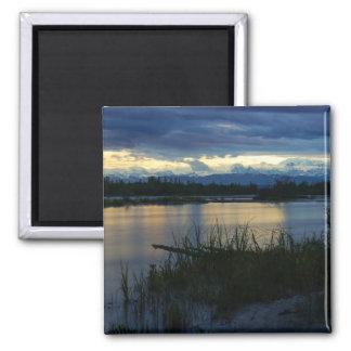Denali Midnight Sunset Square Magnet