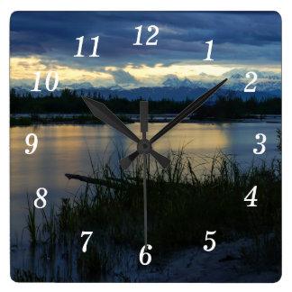 Denali Midnight Sunset Square Wall Clock