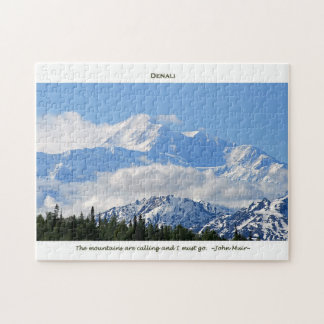 Denali / Mtns are calling-J Muir/with border Jigsaw Puzzle