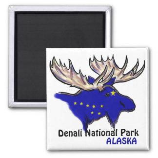 Denali National Park Alaska flag elk magnet