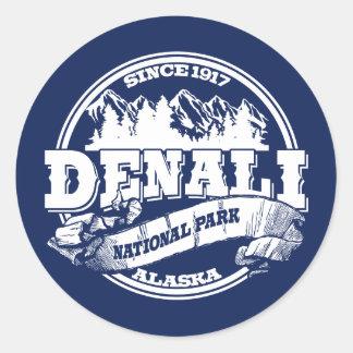 Denali Old Circle Blue Classic Round Sticker