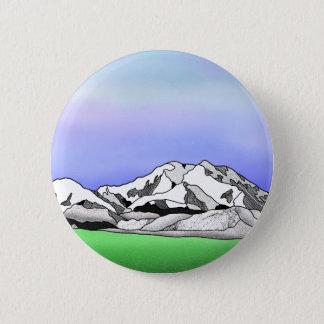 Denali water color line art landscape 2 inch round button